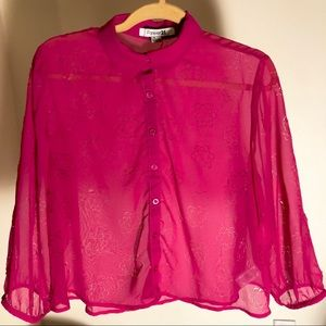 Hot Pink Sheer Cropped Blouse